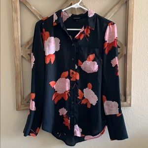 Who What Wear floral back seam detail blouse
